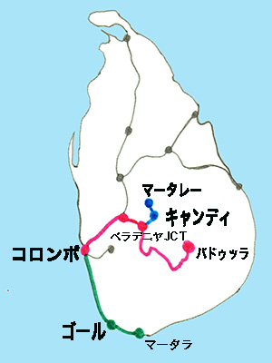 スリランカ鉄道の路線図